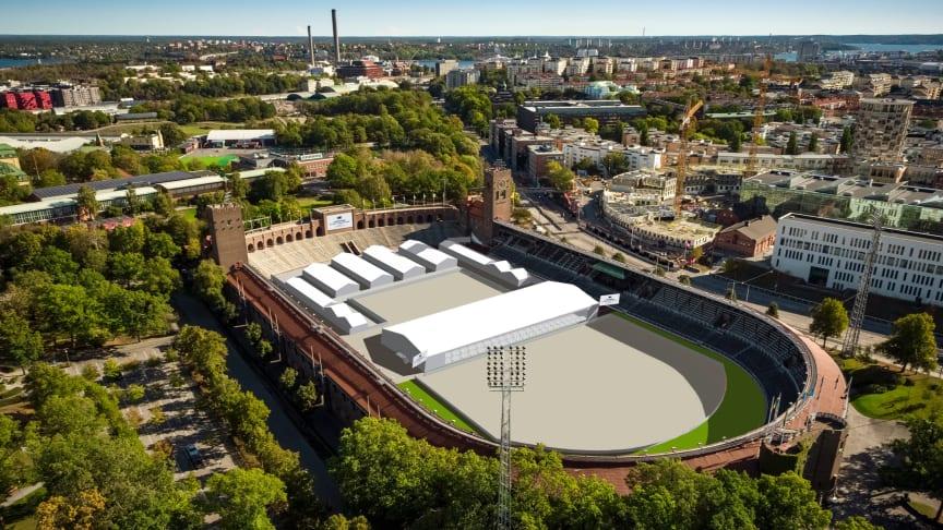 Så här kommer det att se ut på Stockholms Stadion när Stockholm Horse Week drar igång. (bilden är ett montage)