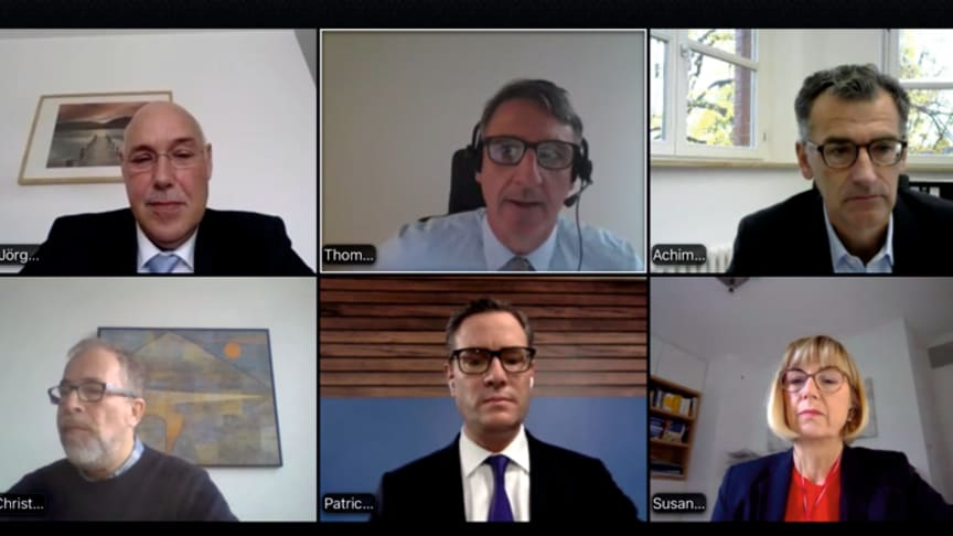Virtuelle Diskussion auf dem Europäischen Gesundheitskongress: Hier Jörg Manthey, Thomas Rüger, Prof. Dr. Achim Jockwig, Dr. Christoph Veit, Patrick Miljes, Dr. Susanne Johna (v.l.) im Austausch.