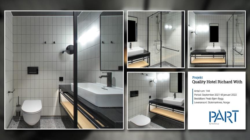 Part levererar 144 badrum till projektet Quality Hotel Richard With i Norge.