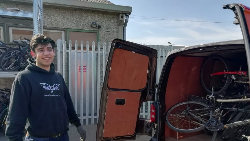 Handlebars' Andre Noble loading van at Horsham depot