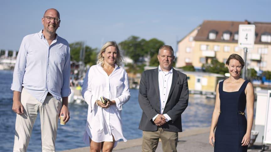 Gustav Hemming (C) Skärgårdsregionråd, Malin Forsbrand (C) Kommunstyrelsens ordförande i Vaxholm, Peter Fyrby VD för Blidösundsbolaget, Michaela Haga (C) Ordförande för Sjötrafikutskottet i Region Stockholm