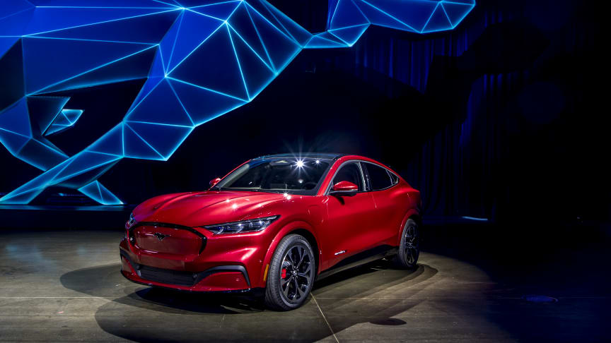 Helelektrisk fremtid: Den helelektrisk SUVen, Mustang Mach-E er bare en av mange miljøinitiativ Ford har kommet med den siste tiden. Her fra verdenspremièren i Los Angeles denne måneden.