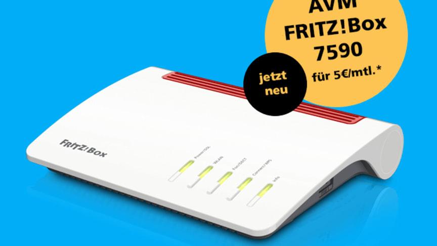 Die von zahlreichen Fachzeitschriften als Testsieger gefeierte AVM FRITZ!Box 7590 steht nun Deutsche Glasfaser Kunden für 5 Euro/Monat zur Verfügung. (DG)