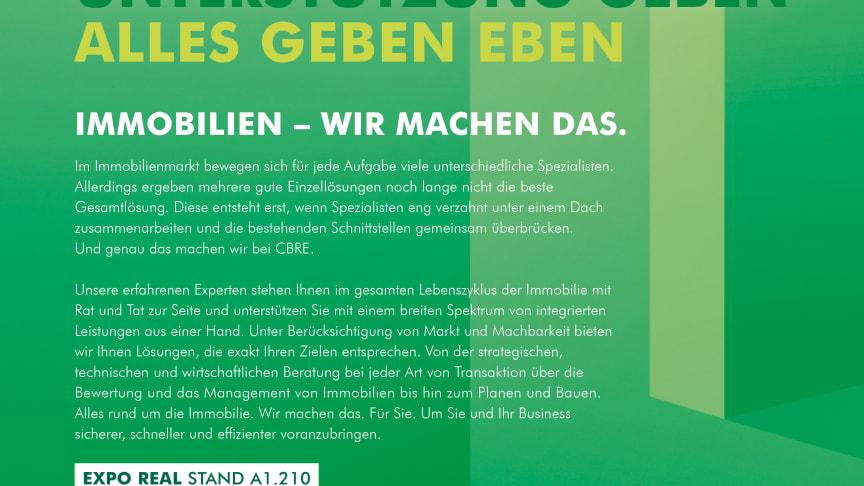 CBRE, das weltweit größte Dienstleistungsunternehmen auf dem gewerblichen Immobiliensektor, mit neuer Kampagne.
