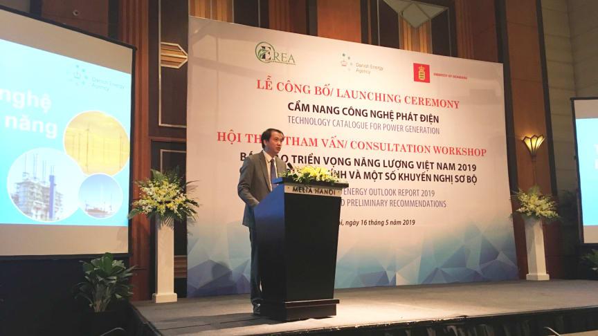 Foto: Director General Phuong Hoang Kim fra Vietnams Electricity and Renewable Energy Authority åbnede seminaret om det nye teknologikatalog..