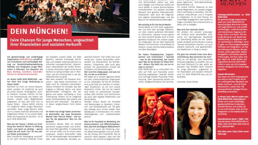 DEIN MÜNCHEN im weißBLAU Magazin des Münchner Marketing Clubs