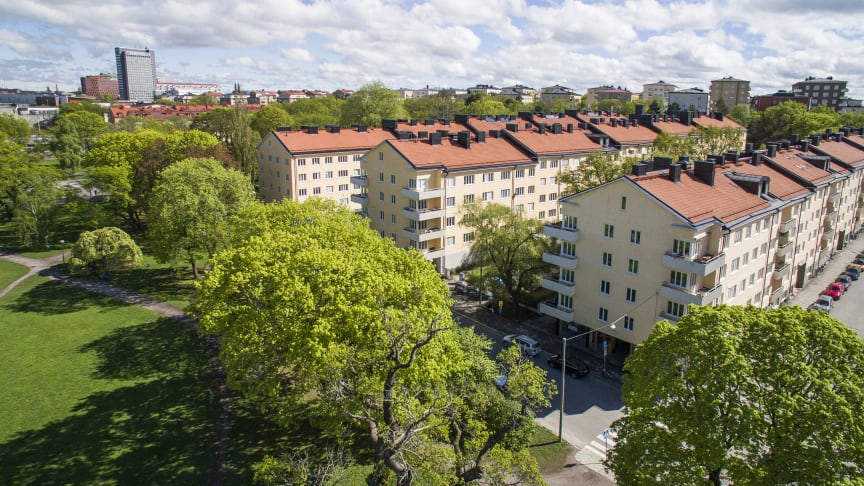 Med närmare 800 lägenheter är HSB brf Fredhäll på Kungsholmen en av landets största bostadsrättsföreningar.