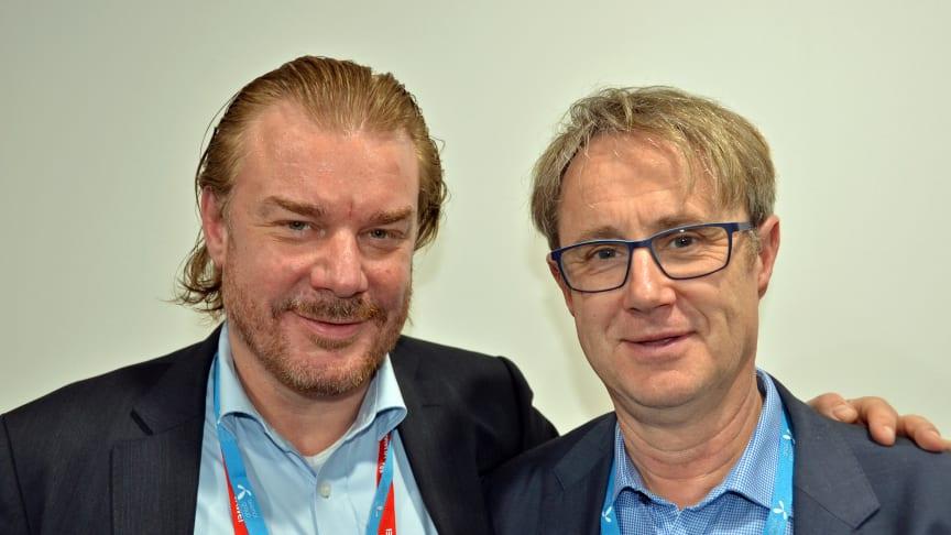 Telenors teknologidirektør Magnus Zetterberg (t.v.) og dekningsdirektør Bjørn Amundsen.