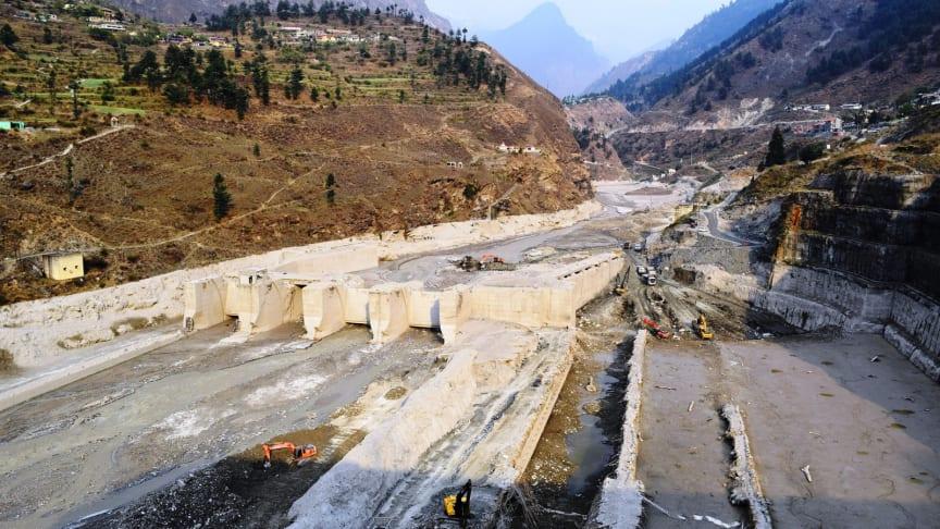Destroyed Tapovan Vishnugad hydroelectric plant after devastating debris flow of Feb 7, 2021. Photo: Irfan Rashid, Department of Geoinformatics, University of Kashmir.
