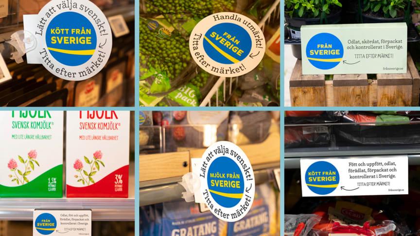 Under Från Sverige-veckorna har butikerna skyltat upp med Från Sveriges butiksmaterial för att hjälpa kunderna att hitta varor som är odlade eller födda och uppfödda, förädlade, förpackade och kontrollerade i Sverige.