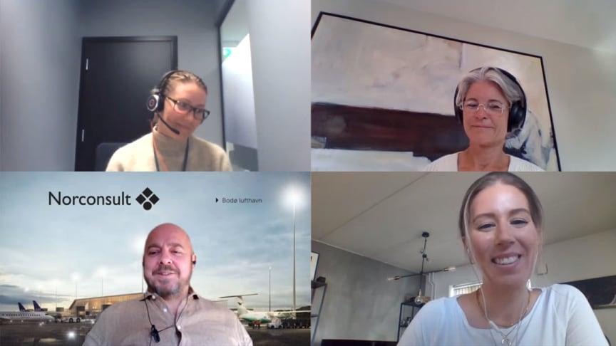 Fra innspilling av podcast om Yngres råd i Norconsult. Øverst f.v.: Caroline Baglo og Fride A. Hærem. Nederst f.v.: Christian Kamhaug og Marthe Haugen Stranden.