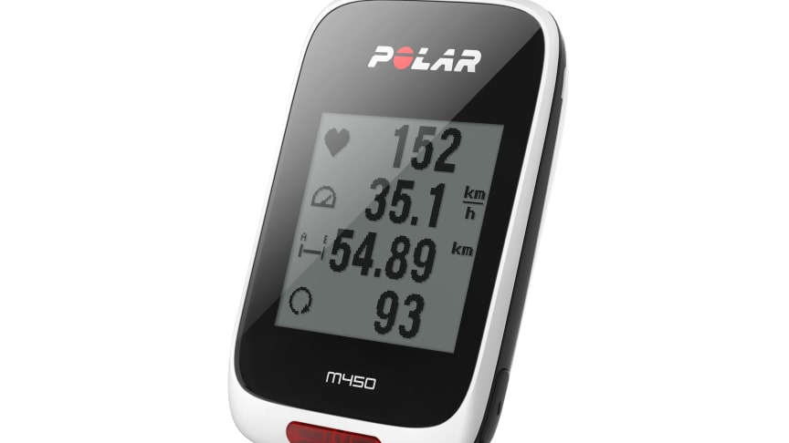 Polar M450 -pyöräilymittari seuraa nopeutta, korkeutta ja sykettä