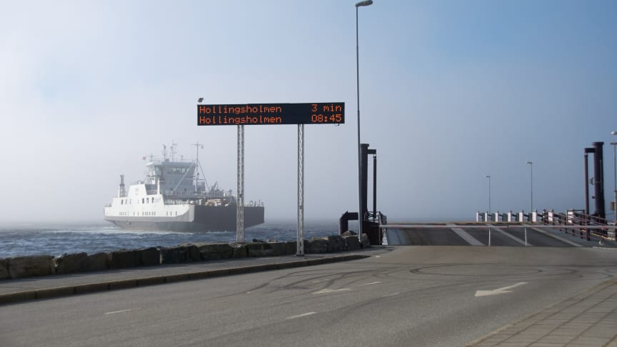 Ferjesambandet Aukra–Hollingsholm (Foto: Møre og Romsdal fylkeskommune).