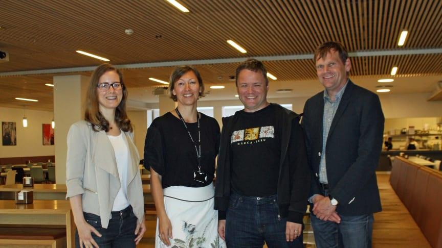 f.v. Teknisk rådgiver i Undervisningsbygg, Magnhild Kallhovd, miljørådgiver i Undervisningsbygg, Bodil Motzke, Espen Løken og Arne Frøland-Larsen i Asplan Viak.