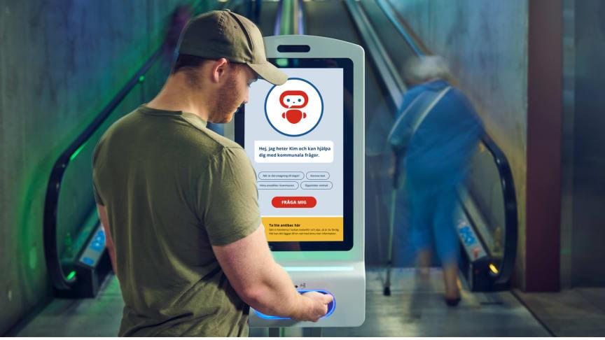 Ekerö kommun i Sverige benytter sin digitale chatbot Kommun-Kim på smittevernkiosken Procon DigiClean