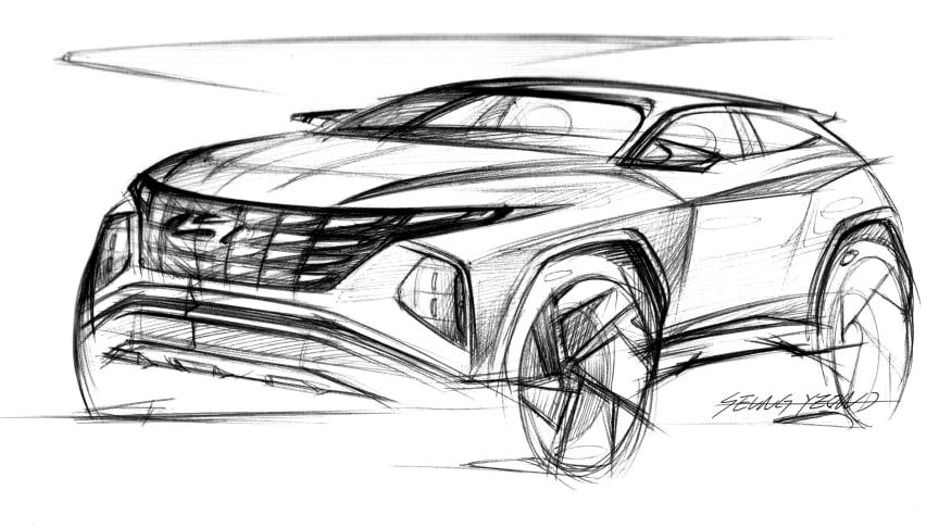 Tegning av Hyundai Tucson. Foto: Hyundai