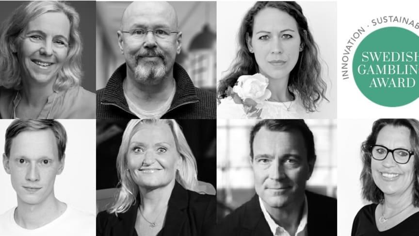 Juryn i Swedish Gambling Award 2020: Hanna Riberdahl, Thomas Nilsson (ordförande), Maria Kausits, Magnus Berglund, Pia Grahn, Mats Georgson och Ann-Sofie Olsson.