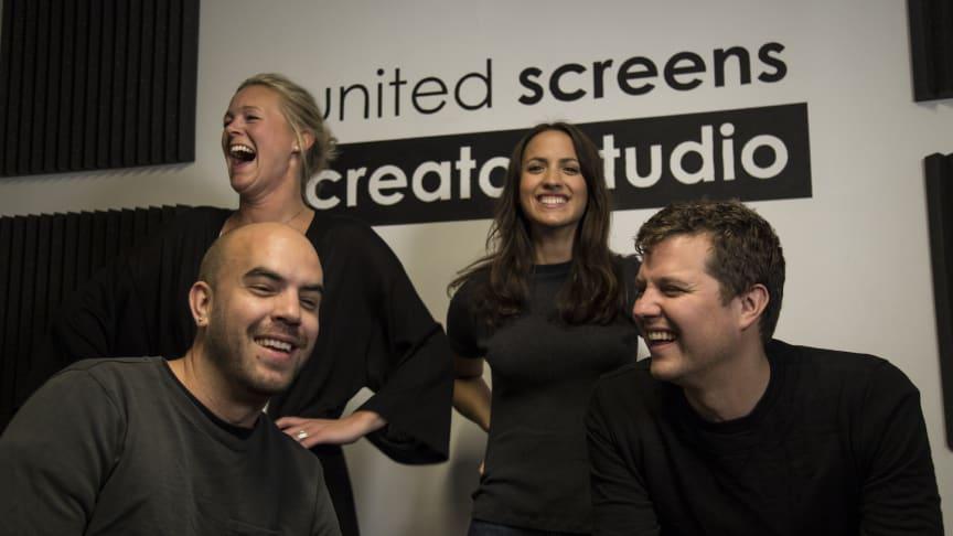 Längst bak fr. vänster: Jenny Ericsson, Head of Music, Amanda Silver, Project Leader of Music Content, Christoffer Söderstjerna, Creative Sales, Georg Herlitz, Creative Director