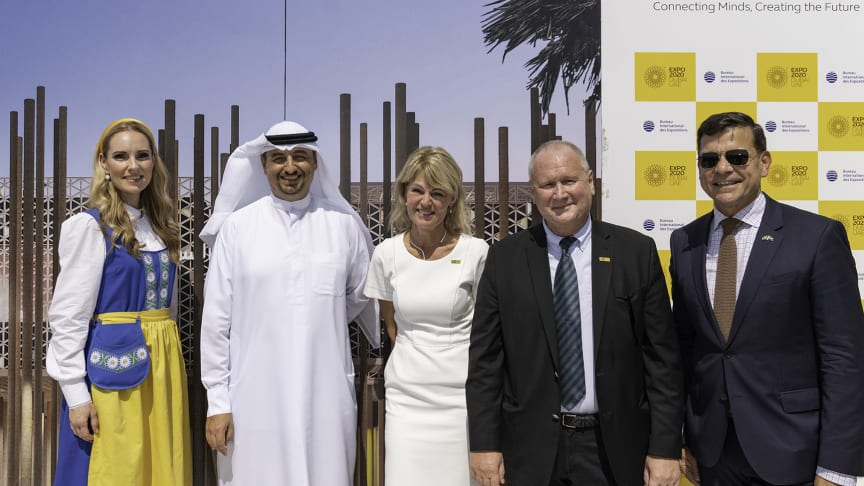 From Left: Soprano singer Hannah Holgersson, Najeeb Mohammed Al-Ali, Executive Director, Expo 2020 Dubai Bureau, Minister for Foreign Trade Anna Hallberg, Commissioner General Anders Lönnberg and H.E. Ambassador Henrik Landerholm