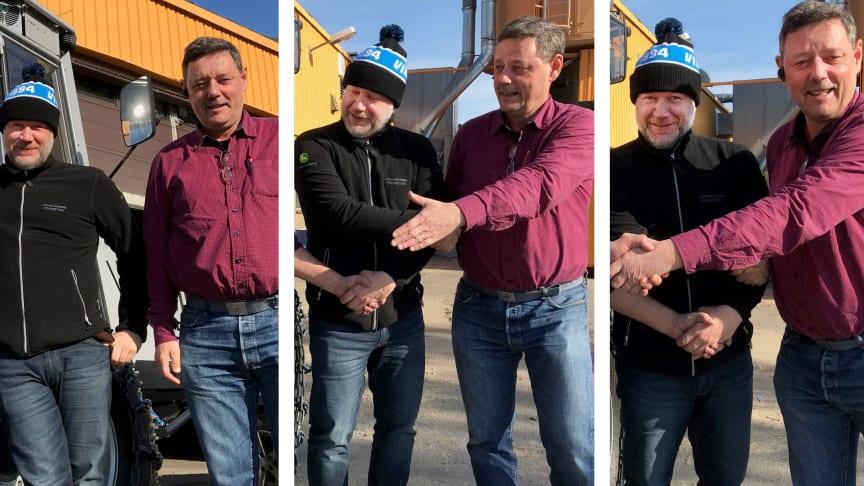 Lars Åstbom och Stefan Asp vid ett tidigare tillfälle i år när MFO OÜ blev återförsäljare för Vimek i Estland.