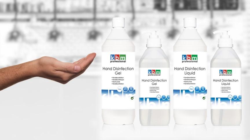 KBM handdesinfektion finns i gel och flytande form.