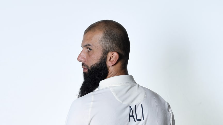 England all-rounder Moeen Ali wears the new Test shirt with his squad number and name  introduced for the  ICC World Test Championship