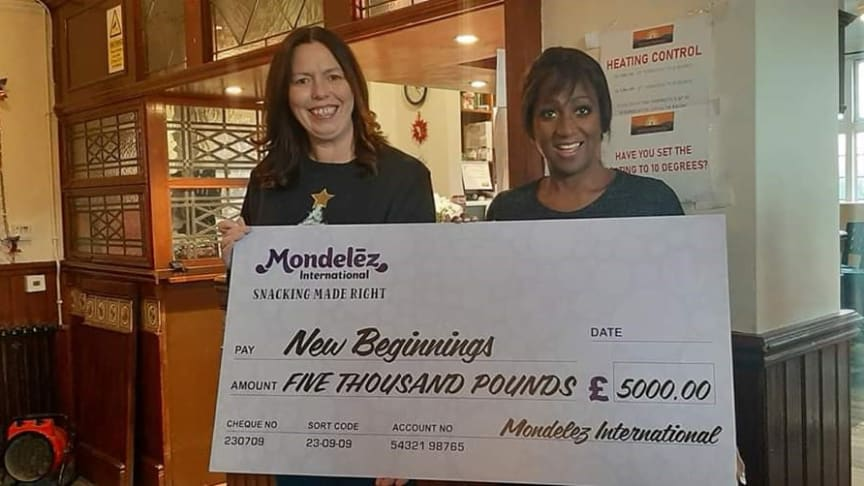 Local charity New Beginnings has been chosen by Reading-based employees at Mondelēz International to receive a donation of £5,000