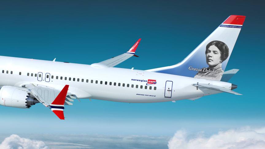 NORWEGIAN SCEGLIE IL VOLTO DI GRAZIA DELEDDA PER DECORARE UNO DEI SUOI BOEING 737 MAX 8