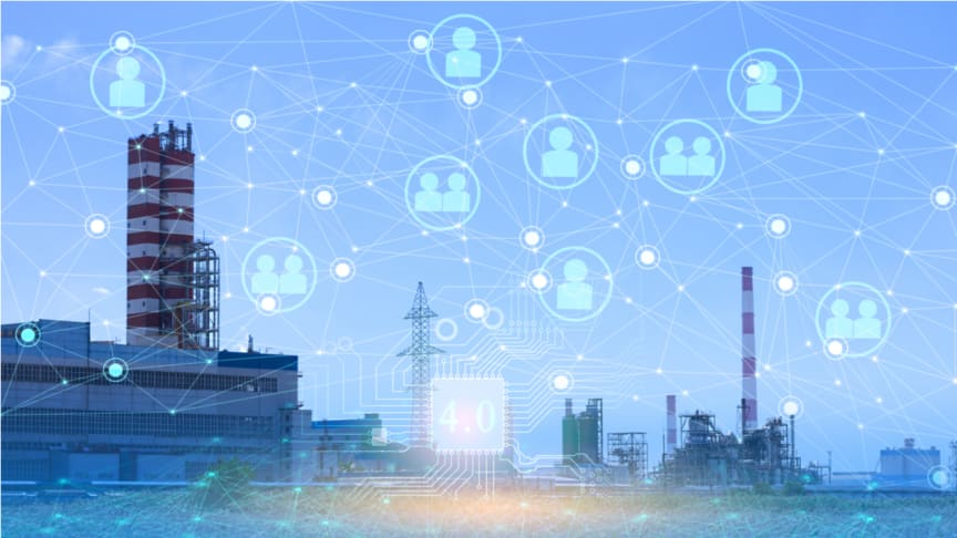 Image of an energy station with an overlay of icons of people that are interconnected with lines. (Royalty-free stock photo ID 1521445094)