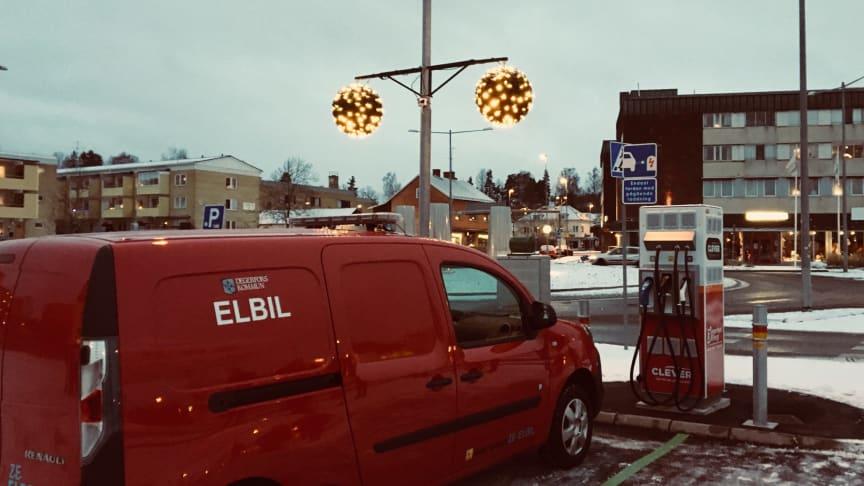 En av de nya laddstationerna i Degerfors