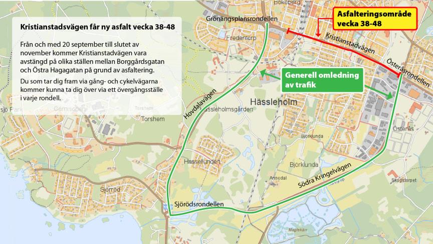 Karta över var vägen är avstängd och hur trafiken leds om.