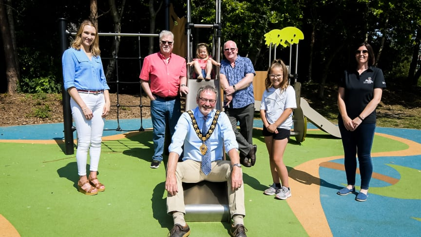 Mayor Cllr, William McCaughey visits Legg Park, Ballykeel Park and Ballygally Park as construction work is completed.