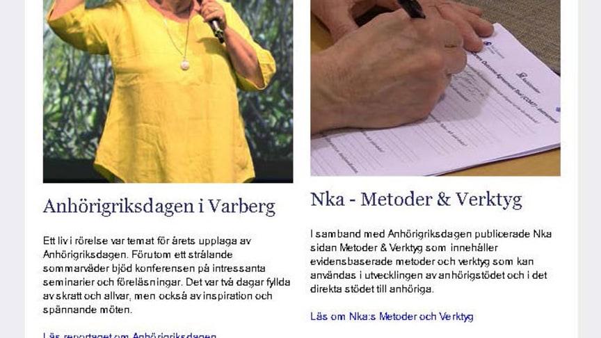 Bland innehållet - Anhörigriksdagen i Varberg och Nka:s Metoder&Verktyg.