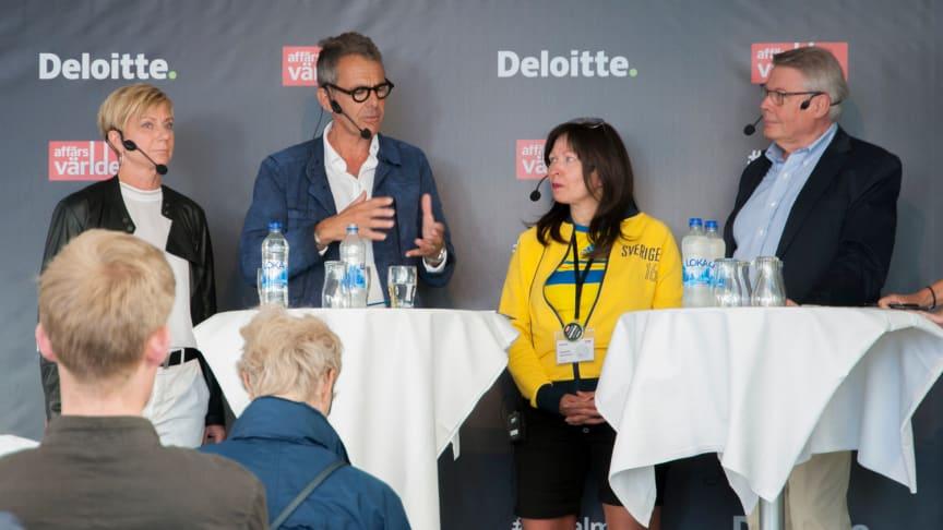 I panelen: Liza Nyberg, fd vd Collector Bank, Mikael Nachemson, ordförande Påmind, Elisabeth Werneman, partner Deloitte, Bo Lundgren, vice ordförande Sparbanken Skåne.