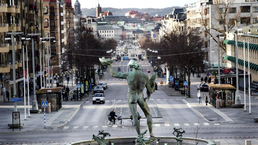 Götaplatsen i Göteborg, hur påverkas denna plats av corona? Bild: Frida Winter