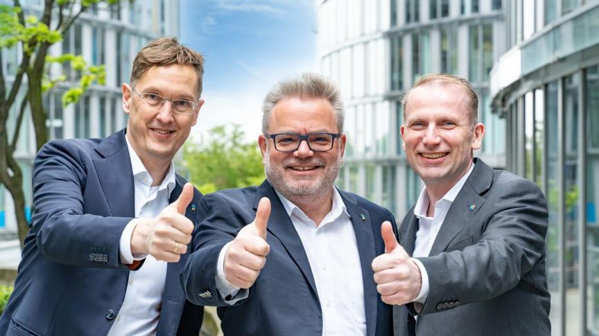 Das neue Geschäftsführerteam der TIMETOACT GROUP: Frank Fuchs (CFO), Felix Binsack und Hermann Ballé (v.l.n.r.). Foto: TIMETOACT GROUP