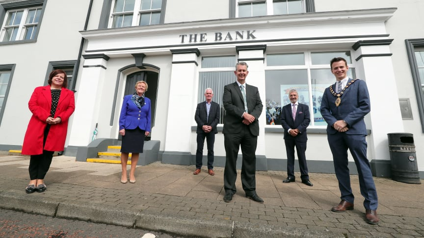 DAERA Minister Edwin Poots paid a visit to the former Northern Bank building in Portglenone to see how the funding had been used by PEG to turn this building into a community hub.