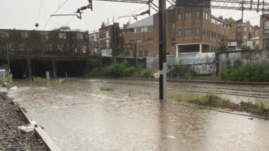 Flooded Track outside Euston Station Monday 12 July 2021