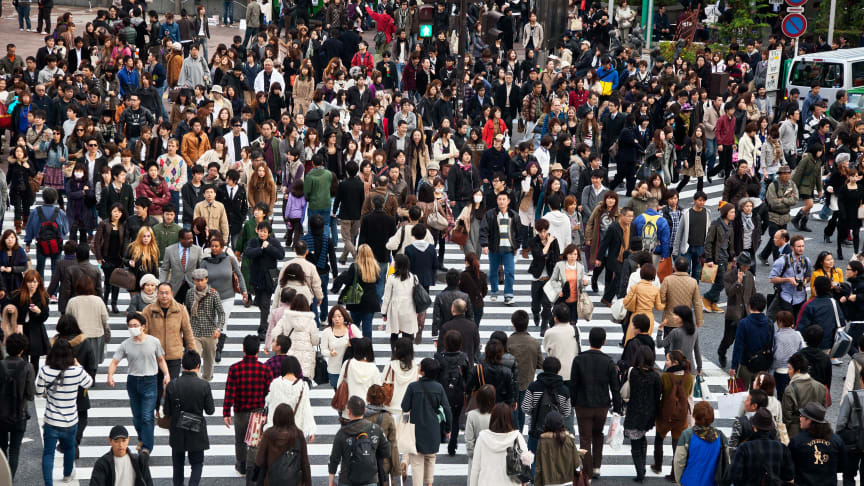 A busy city centre in Tokyo