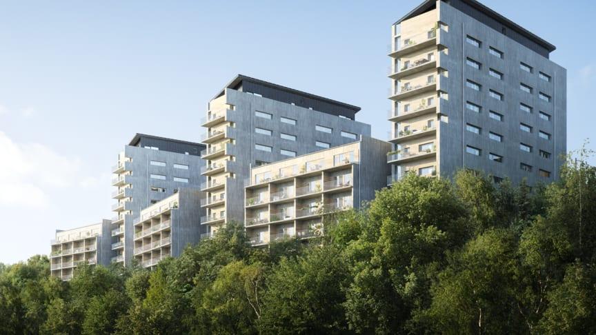 Samarbetet med Thomas Betong och C-lab, som ingår i Thomas Concrete Group innebar inte bara att man var först med klimatförbättrade betongstommar i jämförelse med liknande byggnader. Foto: Riksbyggen