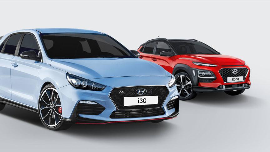 Her er Hyundais tre nyheter på bilmessen i Frankfurt 2017. Fra venstre i30 Fastback, i30N og KONA