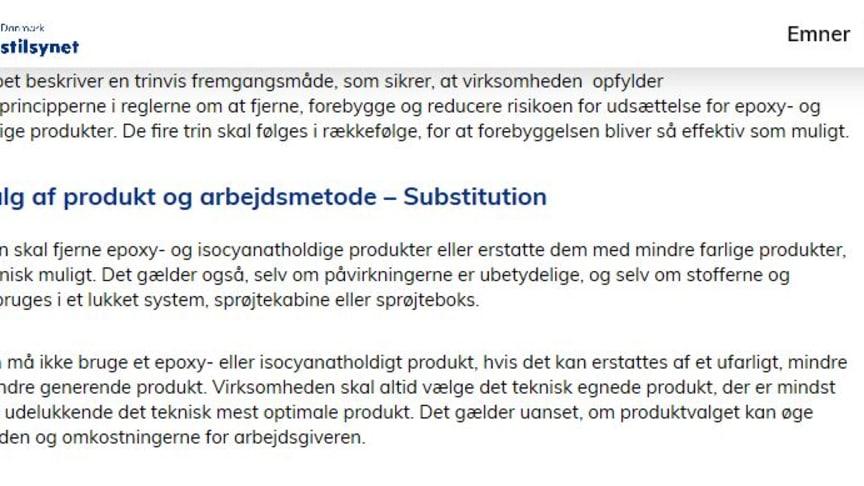 Uddrag af AT vejledningen - Hvor Punktet Substitution er skærpet.