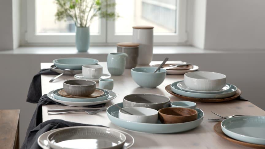 Die neue Arzberg-Farbe Mint Grün fügt sich harmonisch in die bestehenden Pastelltöne der Kollektion Joyn.