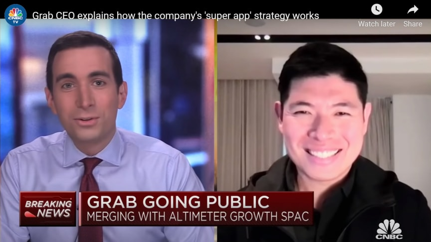 Grab CEO Anthony Tan being interviewed on CNBC