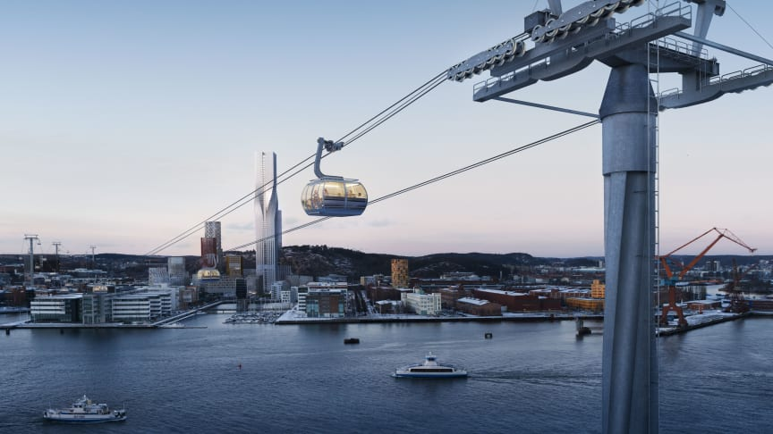Early illustration of what a cable car across the river Göta älv in central Gothenburg might look like. Illustration: Tomorrow