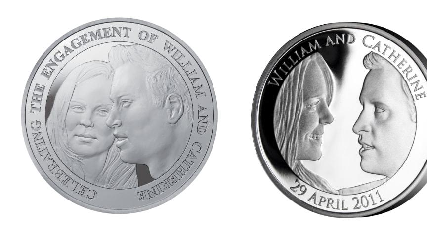 William og Kate på offisielle minnemynter