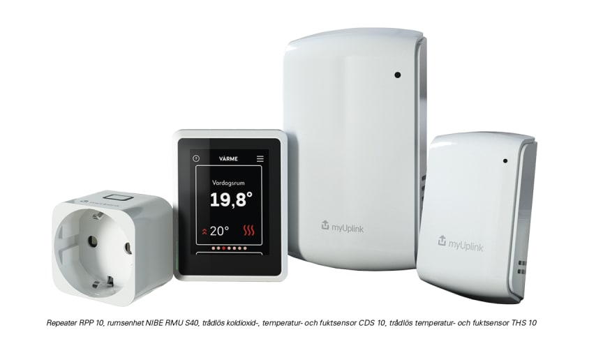 De trådlösa tillbehören kommunicerar med värmepumpen som justerar inomhusklimatet automatiskt för hög komfort och låg energiförbrukning. De kan även styras manuellt.