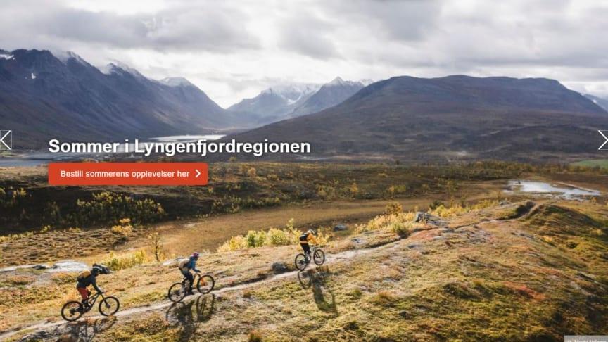 Screenshot fra den nye hjemmesiden til Visit Lyngenfjord