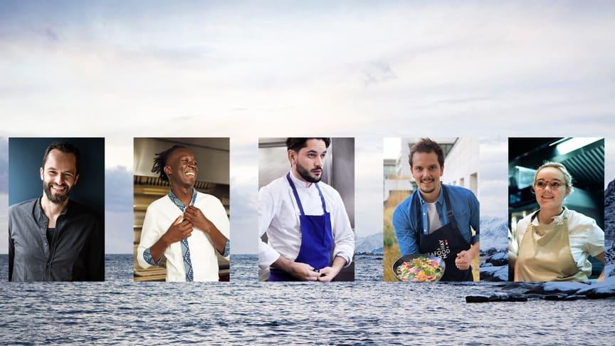 """Her er noen av de franske"""" kokke-rockestjernene"""" som skal få franskmennene til å tilberede skrei hjemme på sitt eget kjøkken. Fra venstre: Yoni Saada, Mory Sacko, Merouan, Juan Arbealez og Alexia Duchêne"""