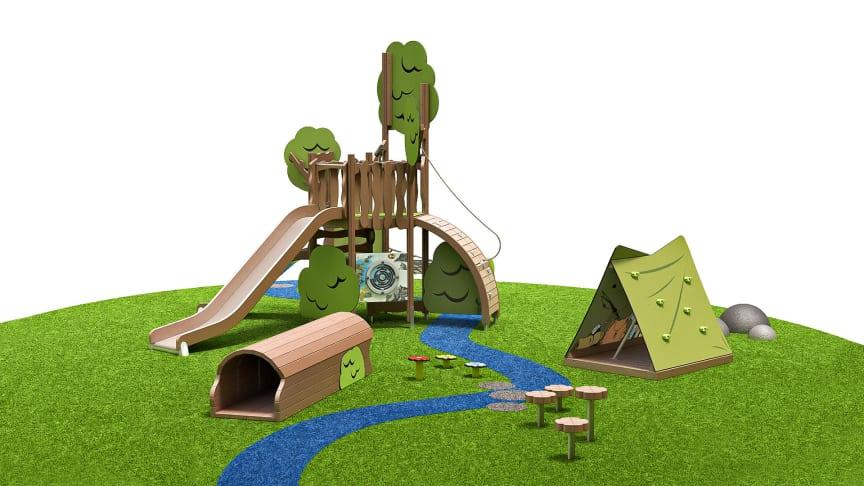 Snusmumrikens lägerplats är det andra konceptet som Lappset släpper från serien av lekredskap med Mumintema.
